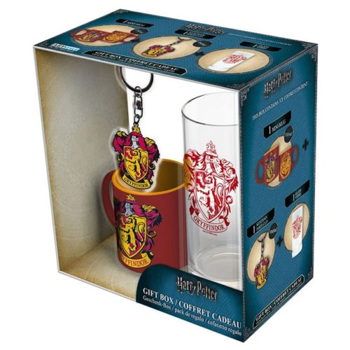 Gift Box Harry Potter Tazza caffè bicchiere e portachiavi Grifondoro scatola