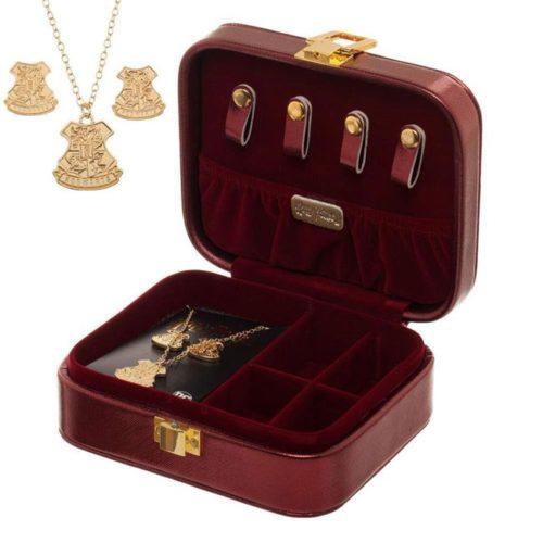 cofanetto portagioie Harry Potter con collana e orecchini di Hogwarts