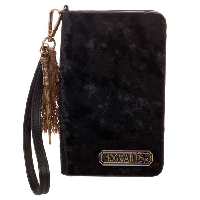 portafoglio donna  portafoglio e portasmartphone donna velluto nero hogwarts - Mitico