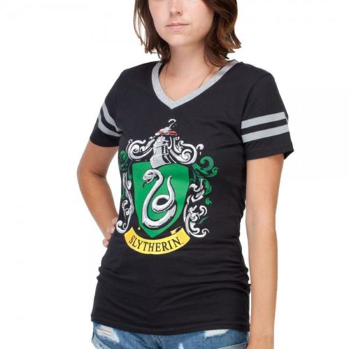 t-shirt femminile con scollo a V serpeverde harry potter