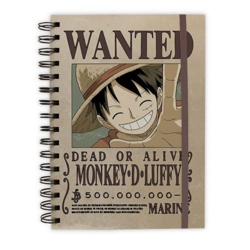 block notes con anelli wanted monkey d luffy one piece