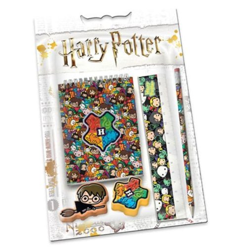 set 2 Gomme Quaderno Matita e Rigello con personaggi Harry Potter