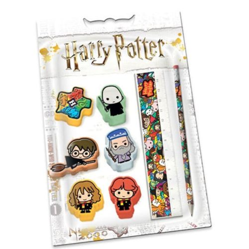 set 6 Gomme Matita e Rigello con personaggi Harry Potter