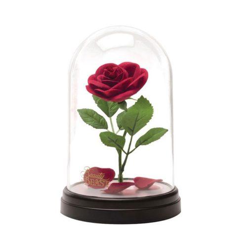 Lampada con Campana di vetro Rosa Beauty and the Beast Disney