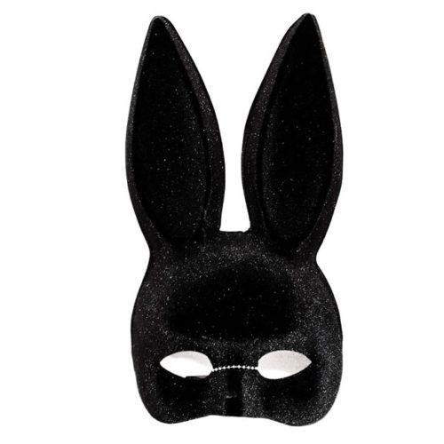maschera nera orecchie coniglio