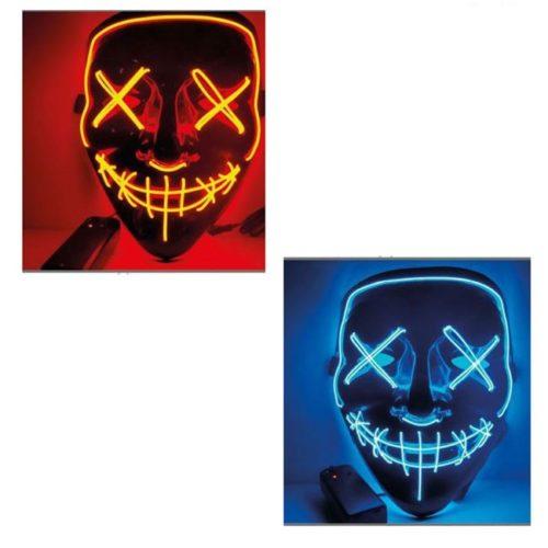 maschera nera con neon arancione o blu
